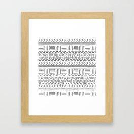 Mud Cloth on White Framed Art Print
