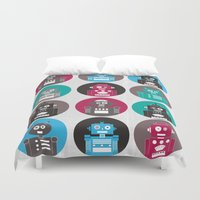 robots Duvet Covers featuring Robots by Kakel