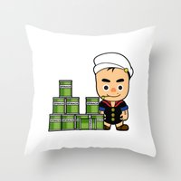 popeye Throw Pillows featuring Popeye  by Jefferson Ng