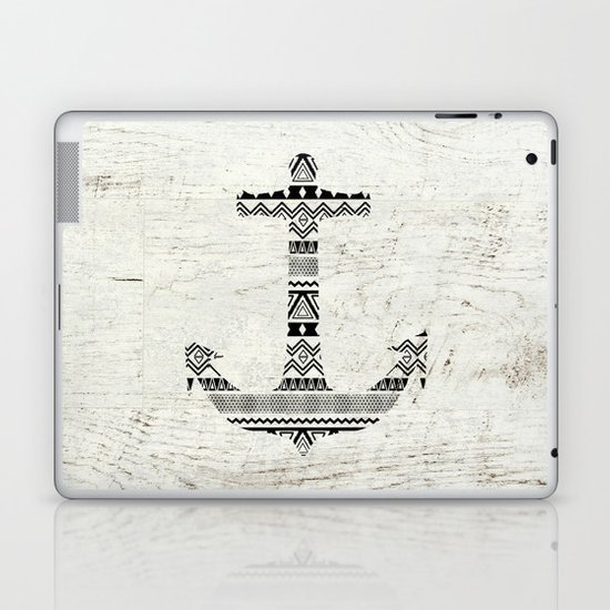 Aztec Nautical Anchor Black White Vintage Wood Laptop & iPad Skin