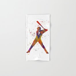 Baseball player isolated 09 in watercolor Hand & Bath Towel