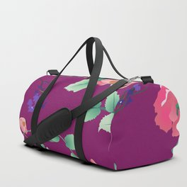 Roses and Violets on Purple Background Duffle Bag