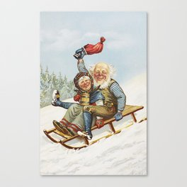Vintage Christmas : Older Couple Wintry Fun 1890 Canvas Print