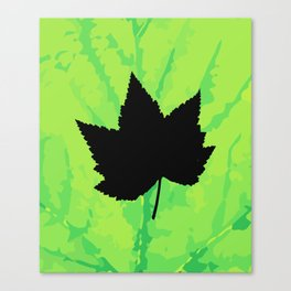 Maple leaf silhouette - Wood sign - The Five Elements Canvas Print