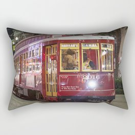 New Orleans Canal Street Car at Night Rectangular Pillow