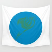 fairy tail Wall Tapestries featuring Fairy Tail Segmented Logo (Happy) circle by JoshBeck