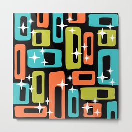 Retro Mid Century Modern Abstract Pattern 222 Orange Chartreuse Turquoise Metal Print