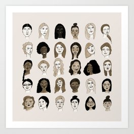 Women faces in sepia palette Art Print
