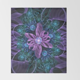 Bejeweled Butterfly Lily of Ultra-Violet Turquoise Throw Blanket