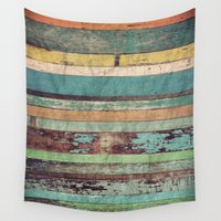 brasil Wall Tapestries featuring Wooden Vintage  by Patterns and Textures