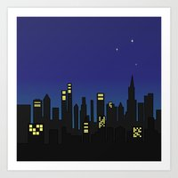 cityscape Art Prints featuring Cityscape by Jozi