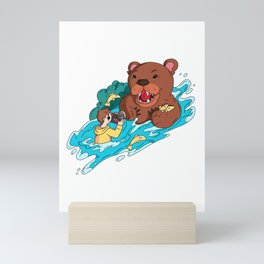 Risky photographer and bear Mini Art Print