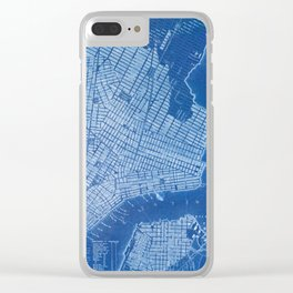 New York antique map, blue old maps, usa maps Clear iPhone Case