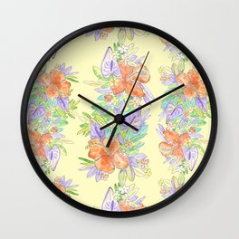 hawaiian tropical flowers yellow Wall Clock