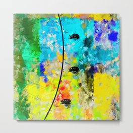 ferris wheel with blue yellow green painting texture abstract background Metal Print