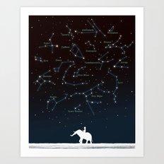 Falling star constellation Art Print
