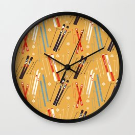 Bright Retro Skii Pattern Wall Clock