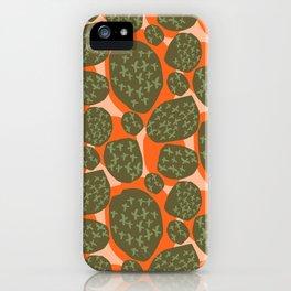 Criss Cross Pebble Orange and Khaki Green iPhone Case