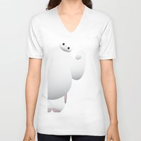 baymax V-neck T-shirts featuring Baymax by Raccoon Illustrations