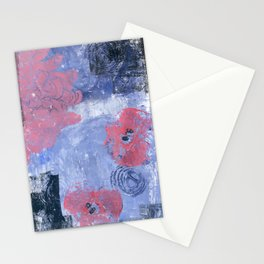 pink dahlia and apples: linoprint Stationery Cards