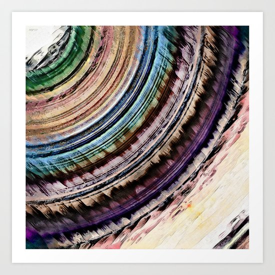 Abstract Textural Rings Art Print