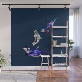 Astronaut meets killer whale Wall Mural