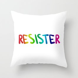 RE*SISTER (rainbow) Throw Pillow