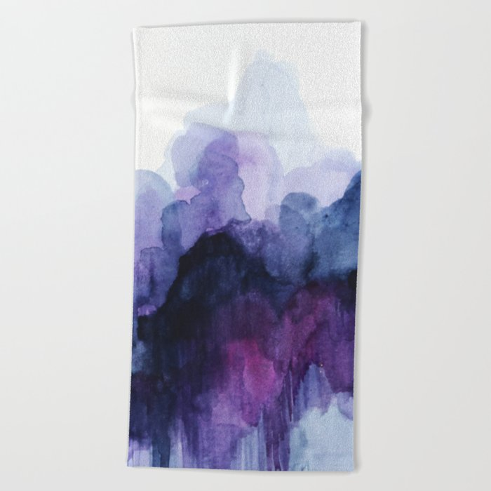 Purple abstract watercolor Beach Towel