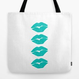Four Turquoise Lips Tote Bag