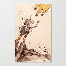 T-Bot Versus Floppy Disks! Canvas Print