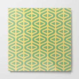 Mid Century Modern Split Triangle Pattern Green and Yellow Metal Print
