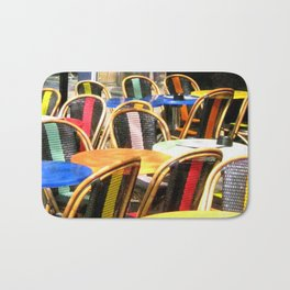 Paris Cafe Colorful Chairs and Tables Bath Mat
