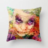 joker Throw Pillows featuring joker by mark ashkenazi
