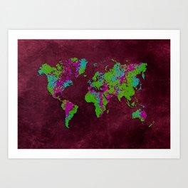world map 85 green purple Art Print