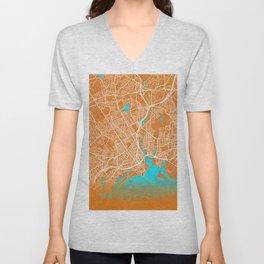 Bridgeport, CT, USA, Gold, Blue, City, Map Unisex V-Neck