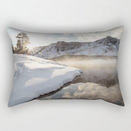 Yellowstone National Park - Bison tracks along the Madison River Rectangular Pillow