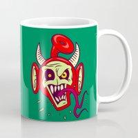 evil dead Mugs featuring Evil Dead Po by Artistic Dyslexia