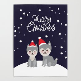 Merry Christmas New Year's card design funny gray husky dog in red hat, Kawaii face with large eyes Poster