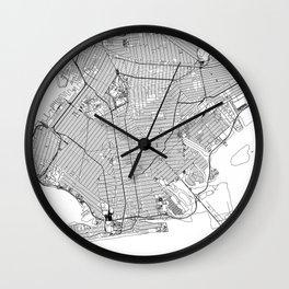 Brooklyn White Map Wall Clock