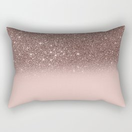 Rose Gold Glitter Ombre Rectangular Pillow