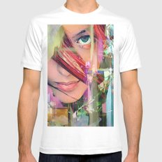 Abstract girl Mens Fitted Tee White MEDIUM