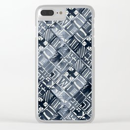 Simply Tribal Tiles in Indigo Blue on Lunar Gray Clear iPhone Case