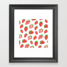 Watercolour Strawberries Framed Art Print