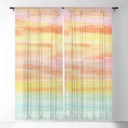 Summer Sunset Abstract Painting Stripes Pattern Modern - Be Yourself And Fall In Love Sheer Curtain