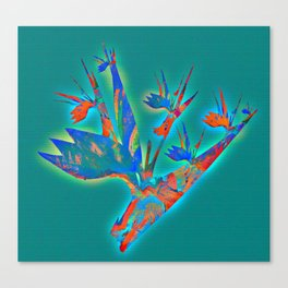 Teal and Aqua Glowing Bird of Paradise Floral Canvas Print