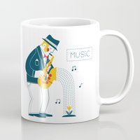 saxophone Mugs featuring Man playing the saxophone by Wonderful Day