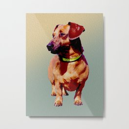 Dachs Right! Dachshund Painted Photograph Metal Print
