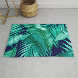 HAWAIIAN GARDEN TROPICAL LEAVES | turquoise navy Rug