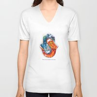 ying yang V-neck T-shirts featuring Ying and Yang by paperila art.
