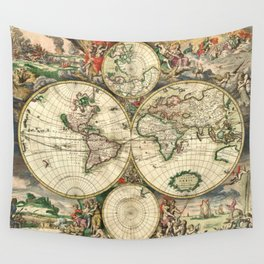 Old map of world hemispheres. Created by Frederick De Wit, published in Amsterdam, 1668 Wall Tapestry